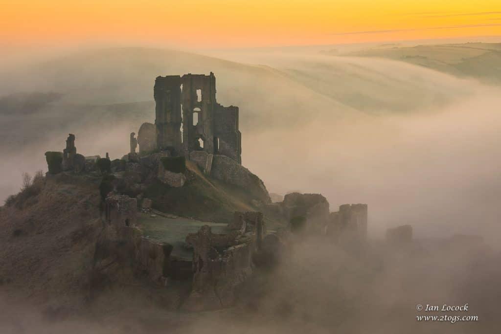 Winter dawn at Corfe Castle, Dorset